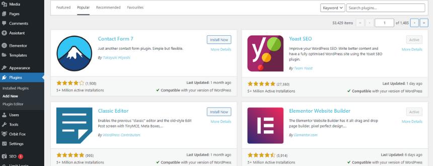 WordPress plugins search in WordPress admin dashboard