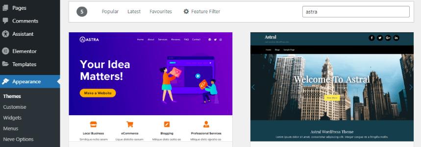 WordPress themes search screenshot from WordPress dashboard