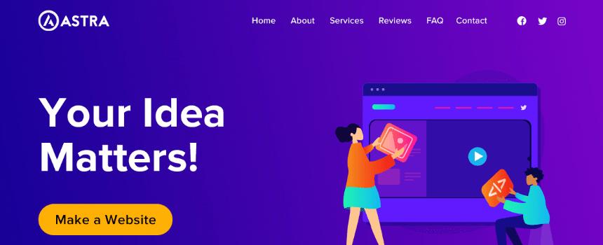 'Astra' WordPress theme example landing page design banner