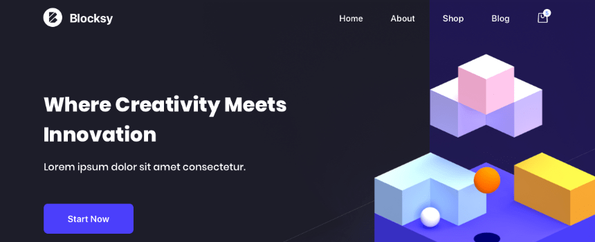 'Blocksy' WordPress theme example landing page design banner
