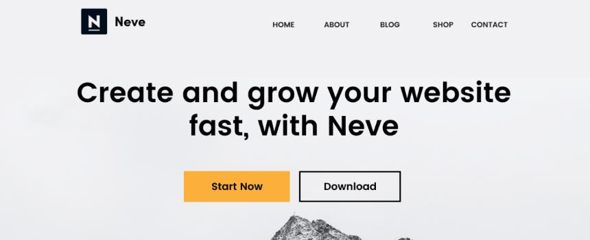 'Neve' WordPress theme example landing page design banner