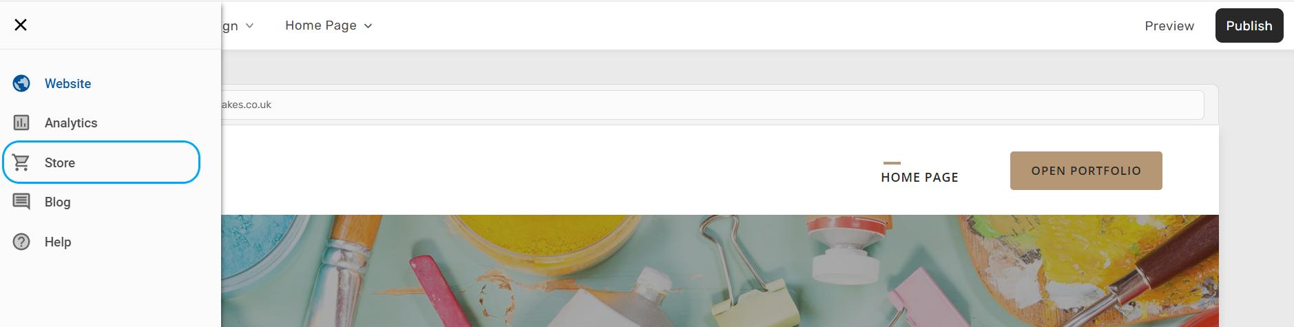 Screenshot of navigating to add an online store in Website Builder