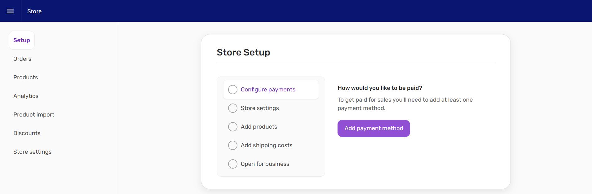 Screenshot of store setup screen in Website Builder