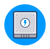 Icon of a Solid State (SSD) hard drive