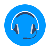 Icon showing a set of headphones with a microphone